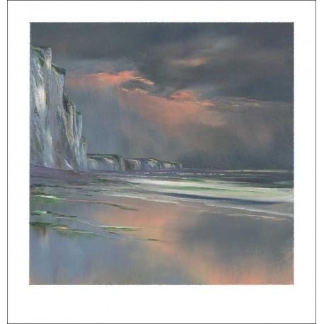 Eclairage d'orage sous les falaises