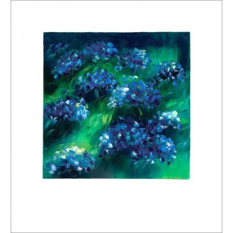 reproduction estampe florale les hortensias bleus de patrick waravka. Black Bedroom Furniture Sets. Home Design Ideas